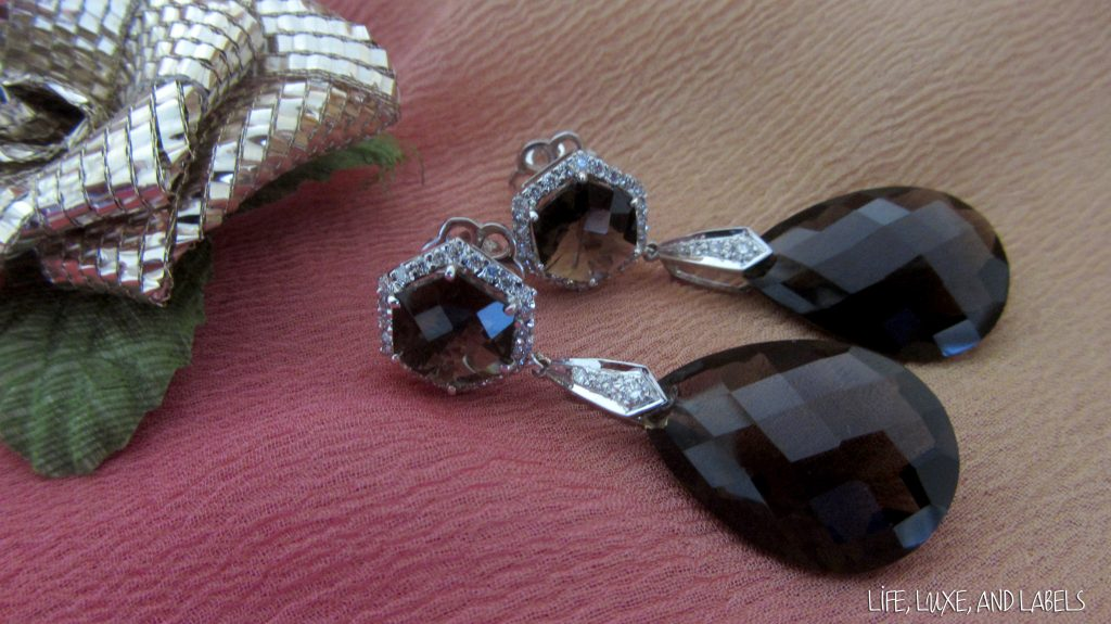 Cocktail Earrings with Chequred-cut Smoky Topaz and Diamonds