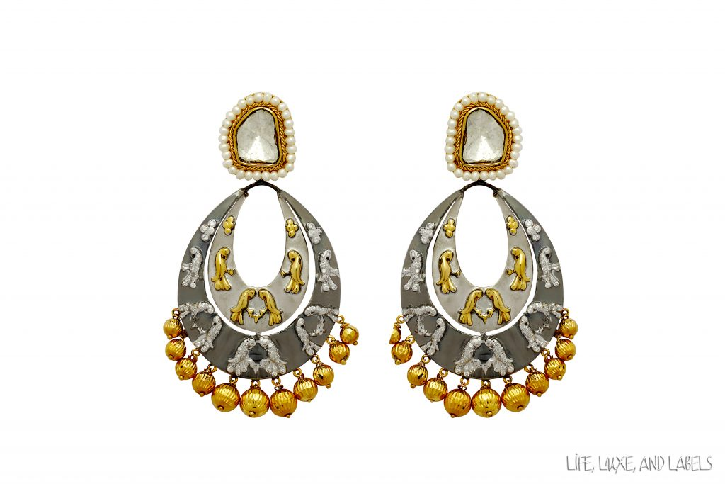 Gray Coloured Gold and Diamond Parrot Chandbalis on a white background
